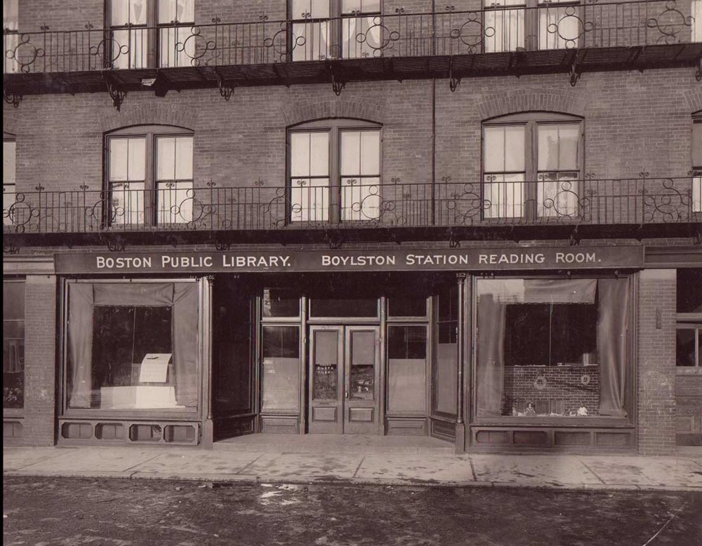 Boston Public Library Boylston Station Reading Room opened in 1905 on the ground floor of the railroad station.  The reading room was enhanced in 1927 and became known as the Boylston Branch. In 1935 the current Connolly Branch Library on Centre Steet was opened.