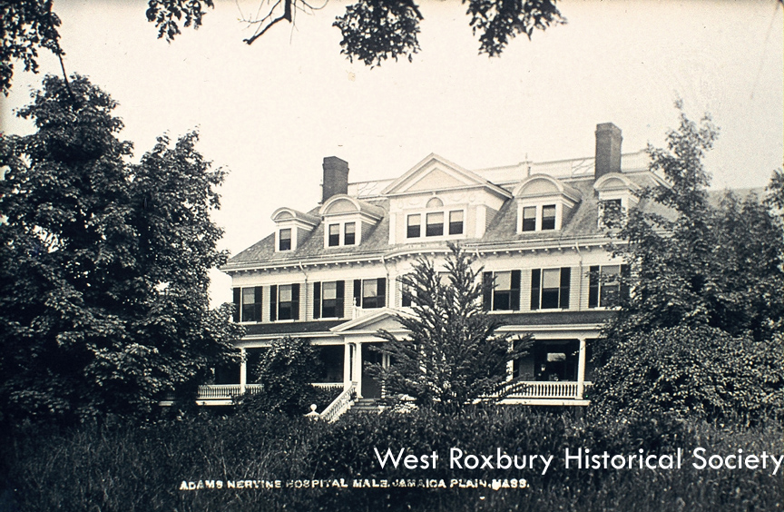 Adams-Nervine Hospital, Centre St. courtesy of West Roxbury Historical Society.
