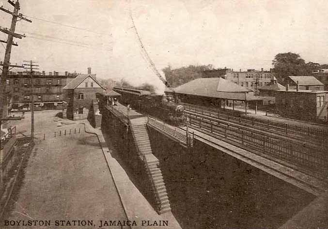 Boylston Station was located near the current site of the Stony Brook MBTA Orange Line Station.