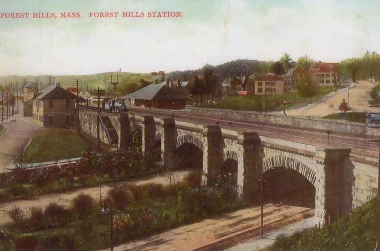 A postcard showing the overpass and station at Forest Hills.