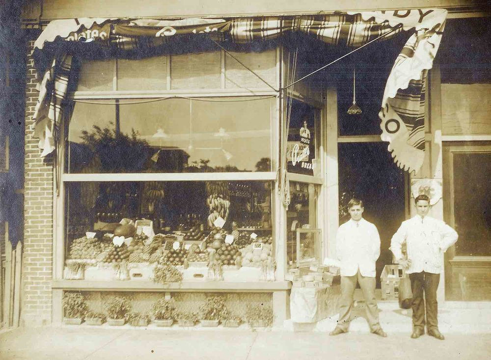 Exterior view of Bob's Spa, circa 1912. Bob Ristuccia shown on the left.