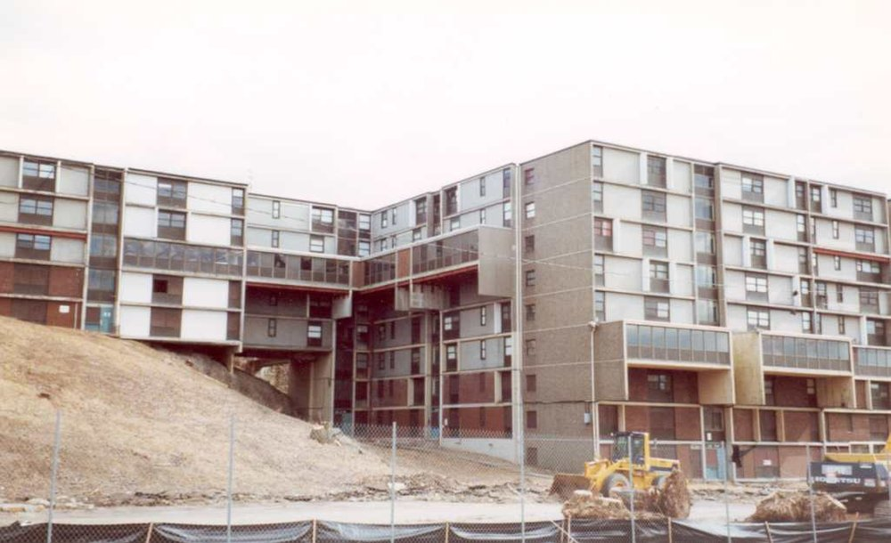 The original Academy Homes II.  Completed in 1967. Carl Koch, architect. Photographed in April, 2001 prior to demolition.
