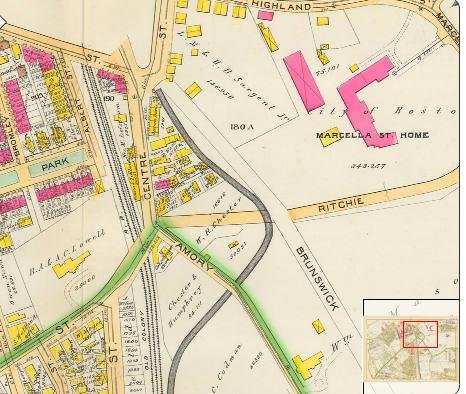 Hog's Bridge in 1890. Atlas of the City Of Boston Proper and Roxbury GW Bromley, Philadelphia 1890.