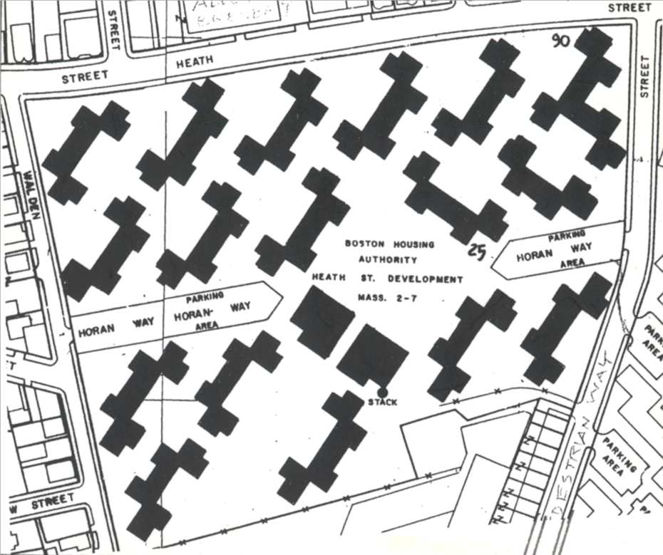 Heath Street development as built in 1941 shown at the same angle as the 1933 map to illustrate the objective of public housing planners to obliterate interior streets, increase light,air and park spaces between buildings, and decrease housing costs by constructing z - shaped superblocks.