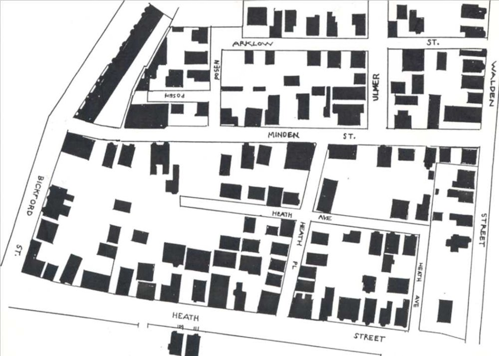 The property and streets taken for Heath Street development as it looked in 1933. This was the city that the 1920s and 1930s housing advocates considered  unhealthy.
