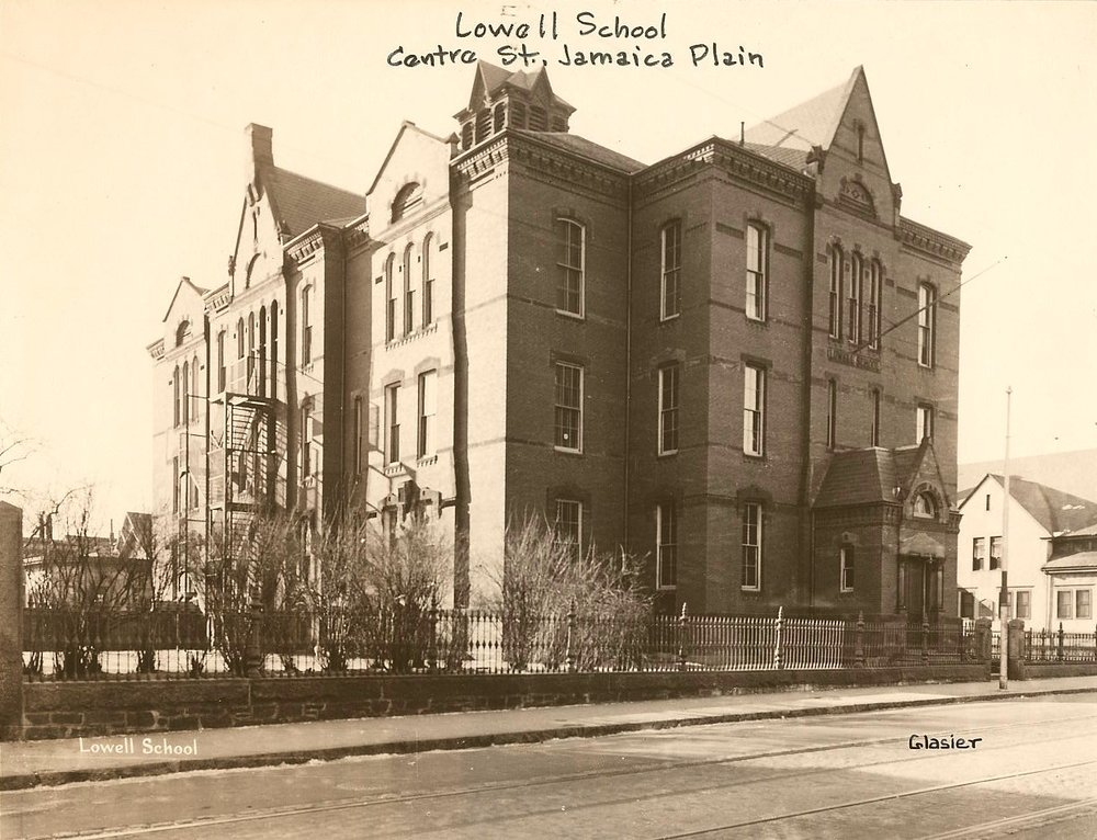 The Lowell School at the corner of Centre and Mozart Streets. This is now the site of the Mozart Playground. The school was dedicated on November 11, 1874 and razed about 1963 for the playground. Photograph courtesy of the City of Boston Archives.