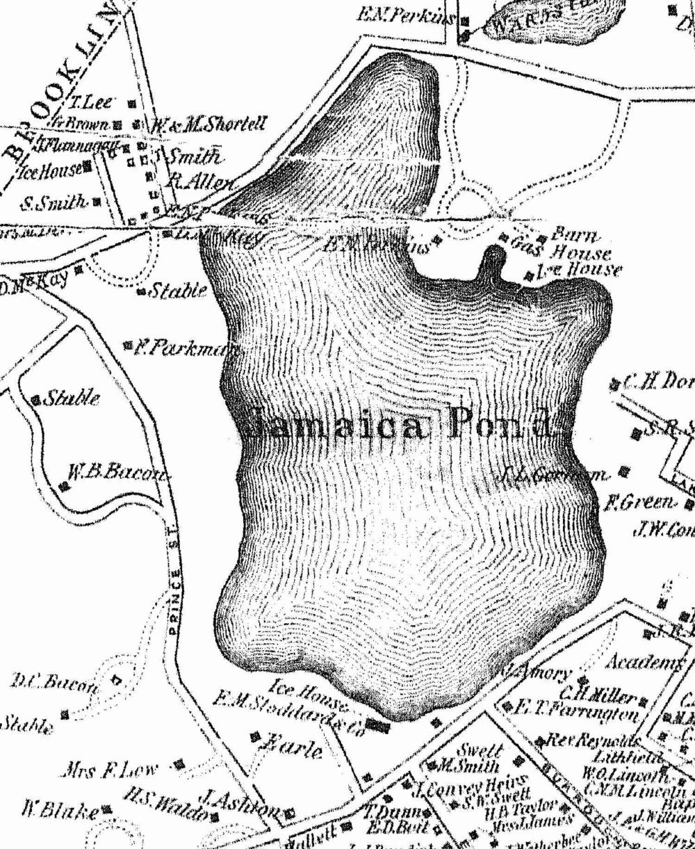 1855 map showing the E.M. Stoddard & Co. ice house.