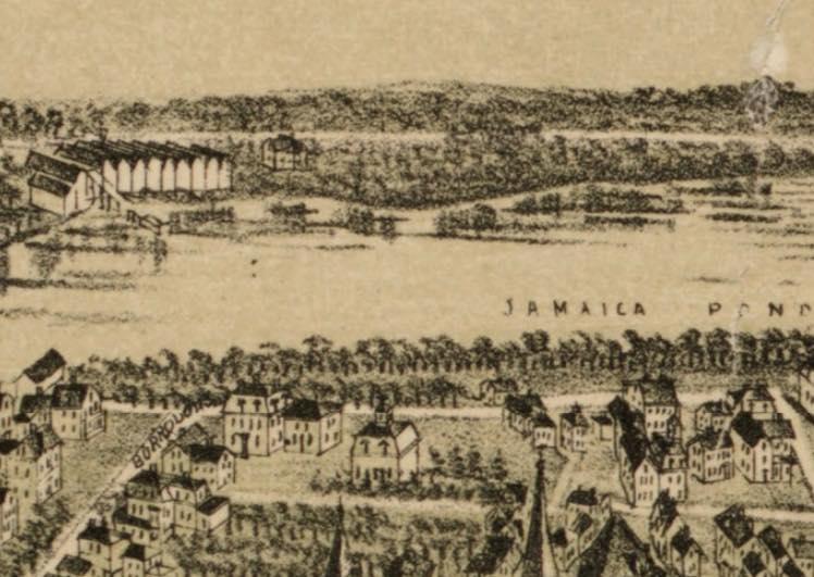 A section of a bird's-eye view of Jamaica Plain showing ice houses on Jamaica Pond.