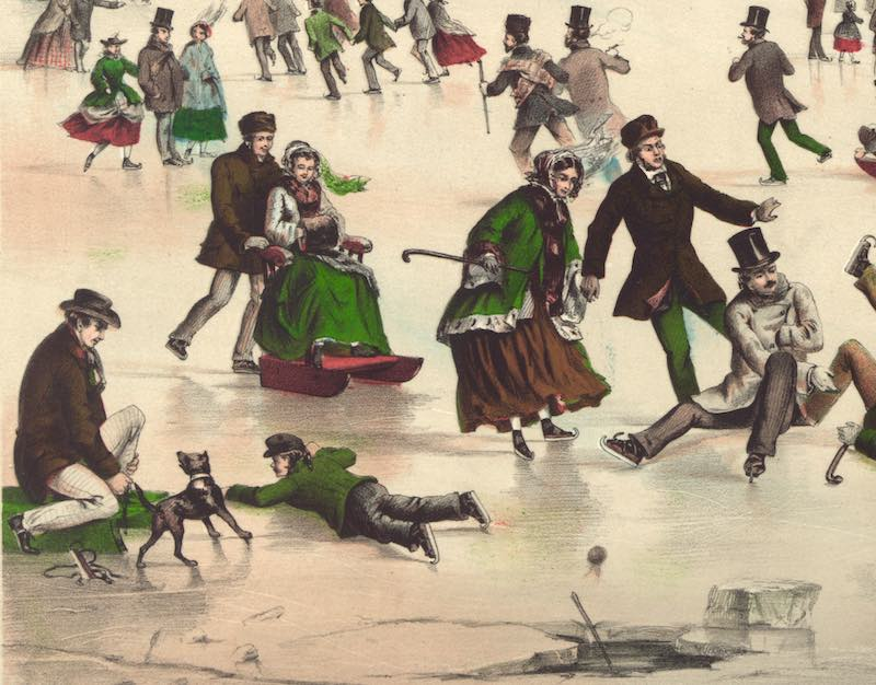 A section of a lithograph depicting skating on Jamaica Pond. Courtesy Library of Congress Prints and Photographs Division. http://www.loc.gov/pictures/resource/pga.00381/