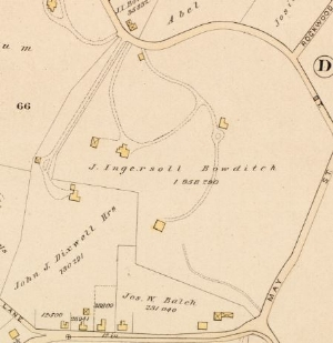 Part of 1884 Map showing the Bowditch property (off May Street)