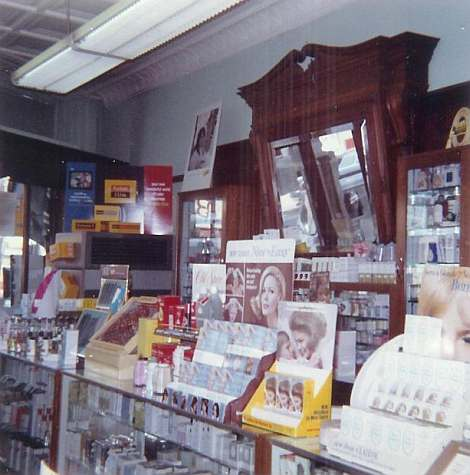 Interior at former soda fountain location, 1965, photo courtesy of Sally Donovan
