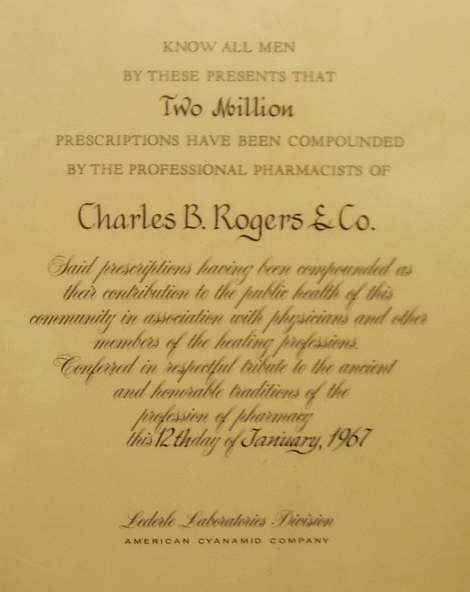 1967 Lederle Laboratory Two Millionth Prescription Award
