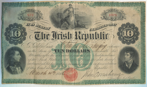 An 1866 Irish Republic Bond. Courtesy irishamerican.com