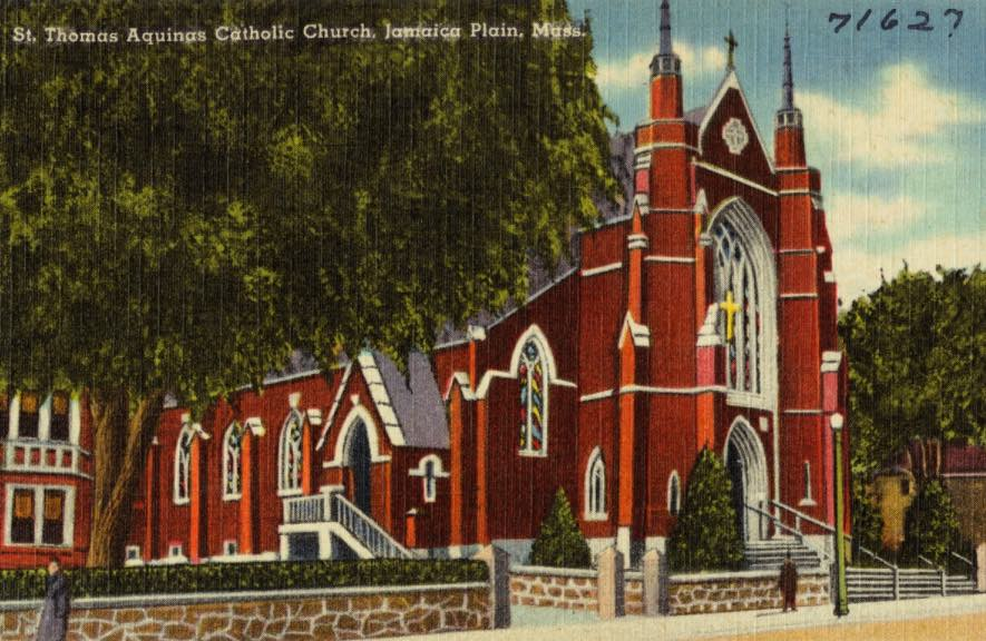 St. Thomas Aquinas Church.  Courtesy Digital Commonwealth.  Download .