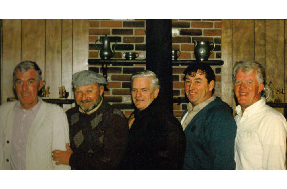 More old guys, Dedham, 1980's. From left to right, Fran Tighe, Bob Power, Ed Doherty, Frank O'Connor, and John Tighe.