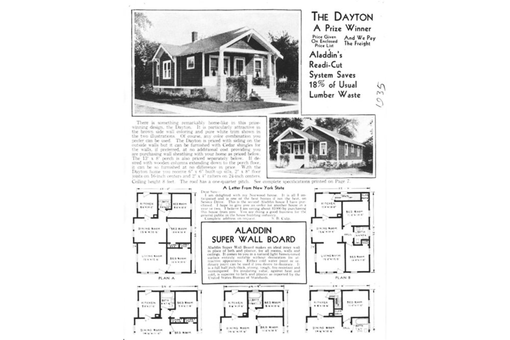 The Dayton house style, page with floor plans from the 1935 Aladdin catalog Clark Historical Library