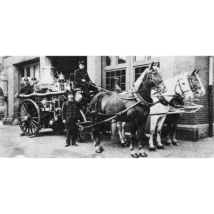 Firemen outside of Engine Company 28 on Centre Street, near Myrtle Street in 1904. Photograph courtesy of the Boston Public Library.