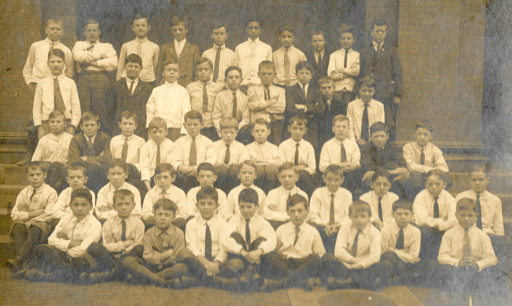 Agassiz School, grade 4, circa 1915. Carl is shown in the front row, fourth from right.