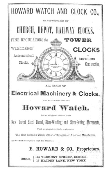 Ad for Howard Watch and Clock Co.