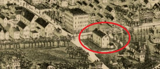 Inset of the 1891 Bird's Eye View map (see below for link to the larger map) showing 3326 Washington Street