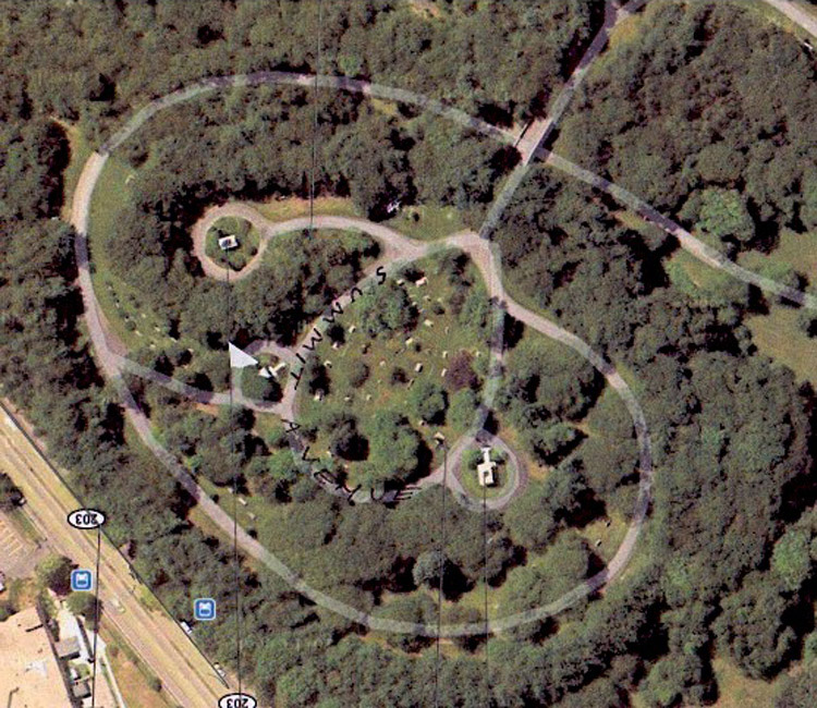 Milton Hill. Forest Hills Cemetery, 2012, Google Maps. Triangle marks the Caproni Monument.
