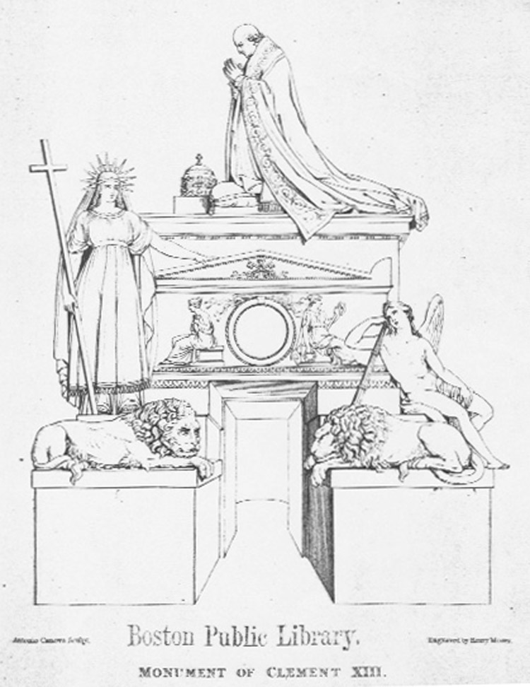 1878 engraving of Pope Clement XII Tomb. Boston Public Library Print Department.