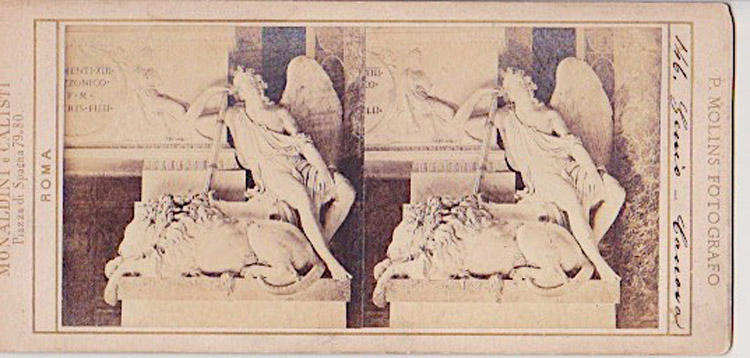 Stereopticon card of Sleeping Lion. ca1880. Richard Heath collection.