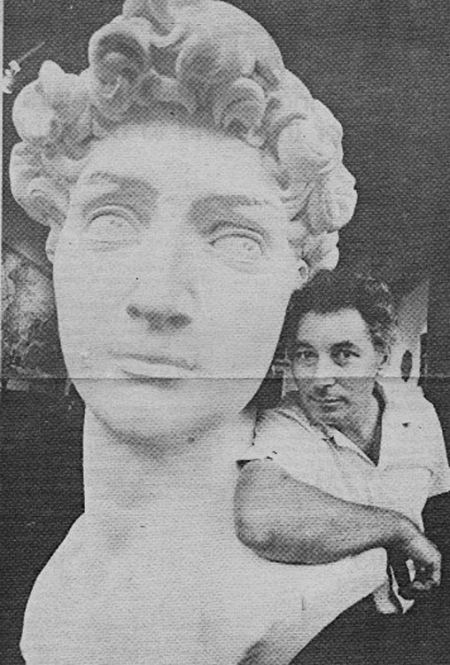 Lino Guist with the full-sized plaster Head of David. Jerry Berndt photograph. Boston Phoenix. Aug 23,1977.