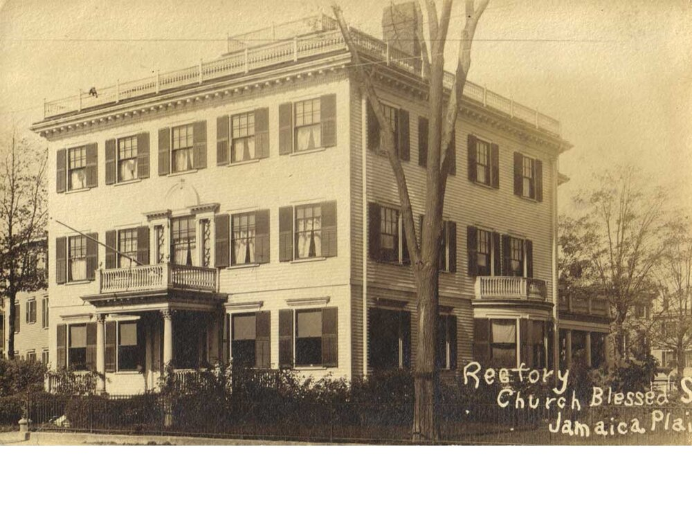 Blessed Sacrament Rectory. From a photo postcard showing a cancelation date of August 23, 1906. Jamaica Plain Historical Society archives.