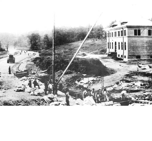 Workers at the Arnold Arboretum visitor's center at the turn of the century. Photograph courtesy of Boston Public Library.