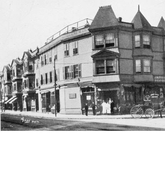 Shown here is the Morton Block built in 1881 at the corner of Hyde Park Ave and Washington Street in Forest Hills.  Michael S. Morton was a successful grocer and an active member of the Jamaica Plain Citizens Association. Photograph courtesy of the West Roxbury Historical Society.