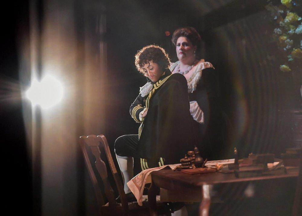 Un ballo in maschera - Florida Grand Opera  Elena Galván (Oscar) and Tamara WIlson (Amelia) in  Un ballo in maschera with Florida Grand Opera  Photo credit: Felipe Cuevas