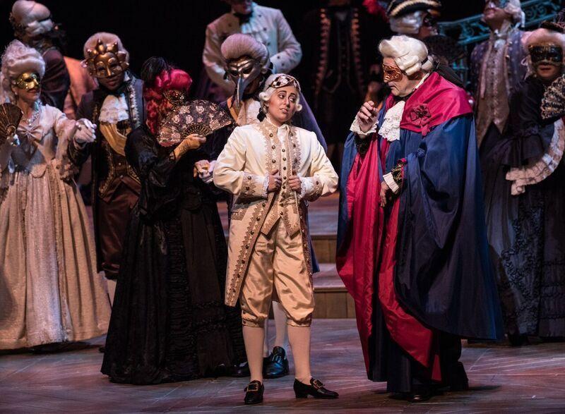 Un ballo in maschera - Florida Grand Opera  Elena Galván (Oscar) and Todd Thomas (Renato) in  Un ballo in maschera with Florida Grand Opera    Photo credit: Brittany Mazzurco Muscato