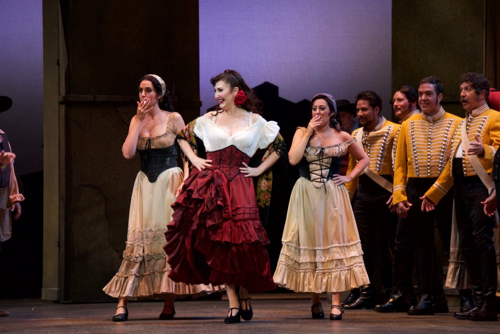 Courtney Miller (Mercedes), Maria Jose Montiel (Carmen), Elena Galván (Frasquita) in  Carmen  at Florida Grand Opera.  Photo credit: Lorne Grandison