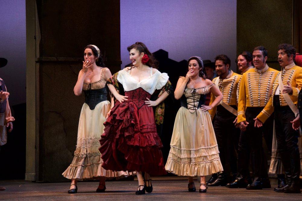Courtney Miller (Mercedes), Maria Jose Montiel (Carmen), Elena Galván (Frasquita) in  Carmen at Florida Grand Opera.  Photo credit: Lorne Grandison