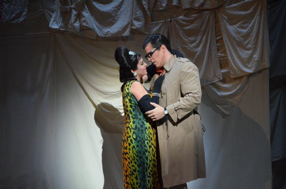 Elena Galván (Norina) and Daniel Bates (Ernesto) in  Don Pasquale at Florida Grand Opera  Photo credit: Daniel Azoulay
