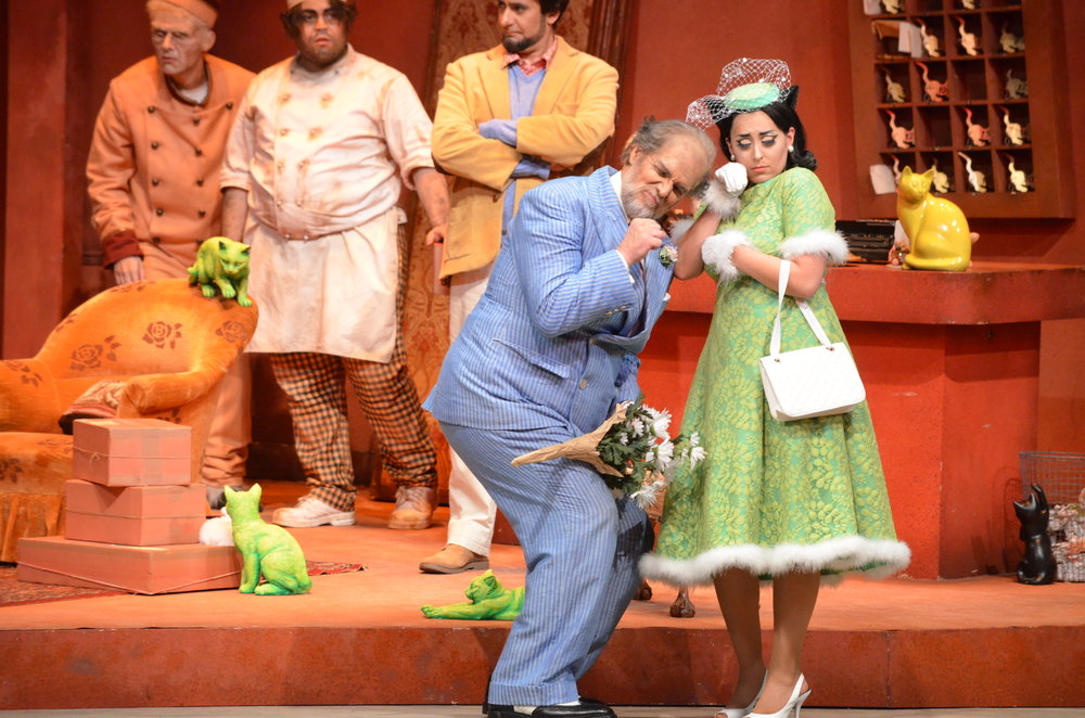 Kris Irmiter (Don Pasquale) and Elena Galván (Norina) in  Don Pasquale  at Florida Grand Opera  Photo credit: Daniel Azoulay