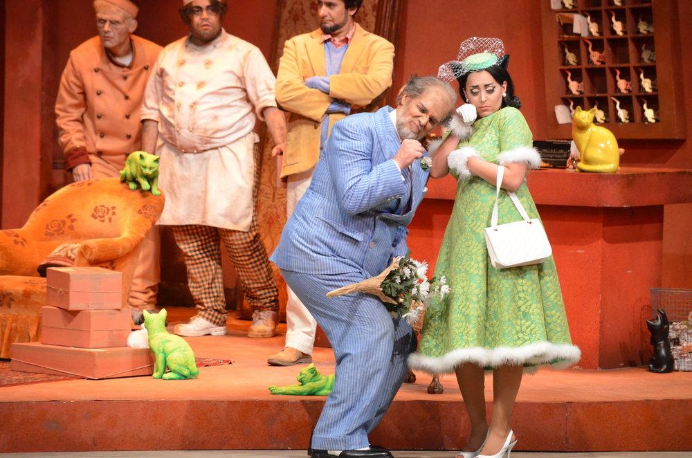 Kris Irmiter (Don Pasquale) and Elena Galván (Norina) in  Don Pasquale at Florida Grand Opera  Photo credit: Daniel Azoulay