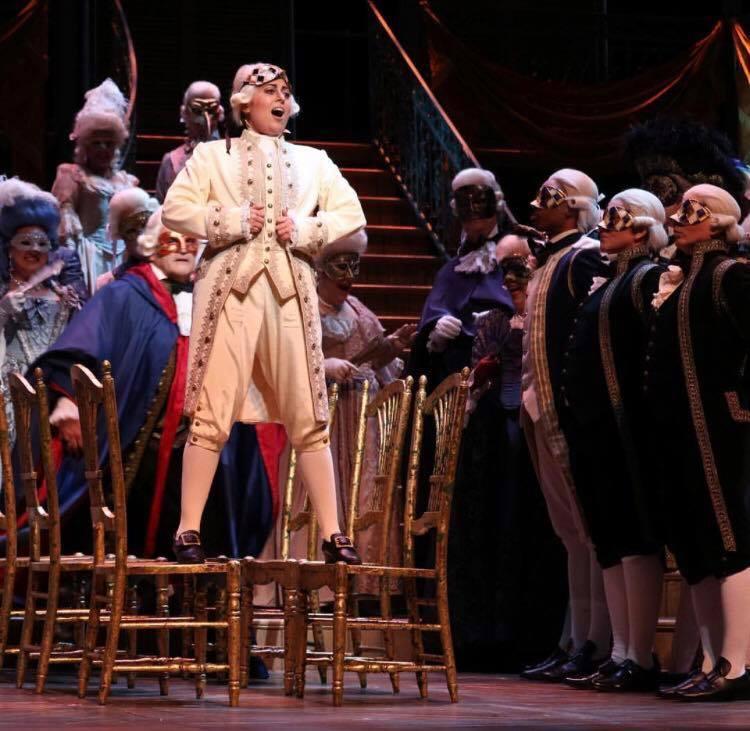 Un ballo in maschera - Florida Grand Opera  Elena Galván (Oscar) in  Un ballo in maschera at Florida Grand Opera.  2017  Photo credit: Brittany Mazzurco Muscato