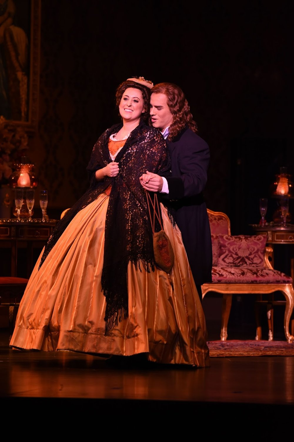 La rondine - Opera San Jose  Elena Galván (Lisette) and Mason Gates (Prunier)in  La   rondine    with Opera San Jose.  Photo credit: Pat Kirk