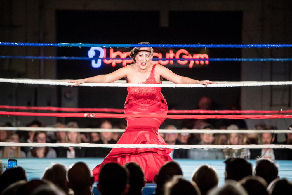 Elena Galván in Opera Diva Cage Match  Out of the Box Opera  Photo credit: Dan Normal Photography