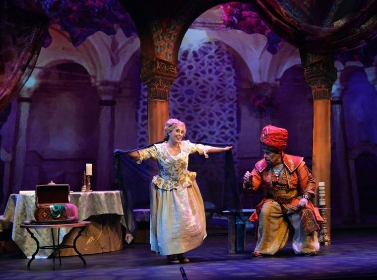 Blonde (Elena Galván) and Osmin (Kevin Langan) in  Die Entführung aus dem Serail  by Mozart     Livermore Valley Opera  2018