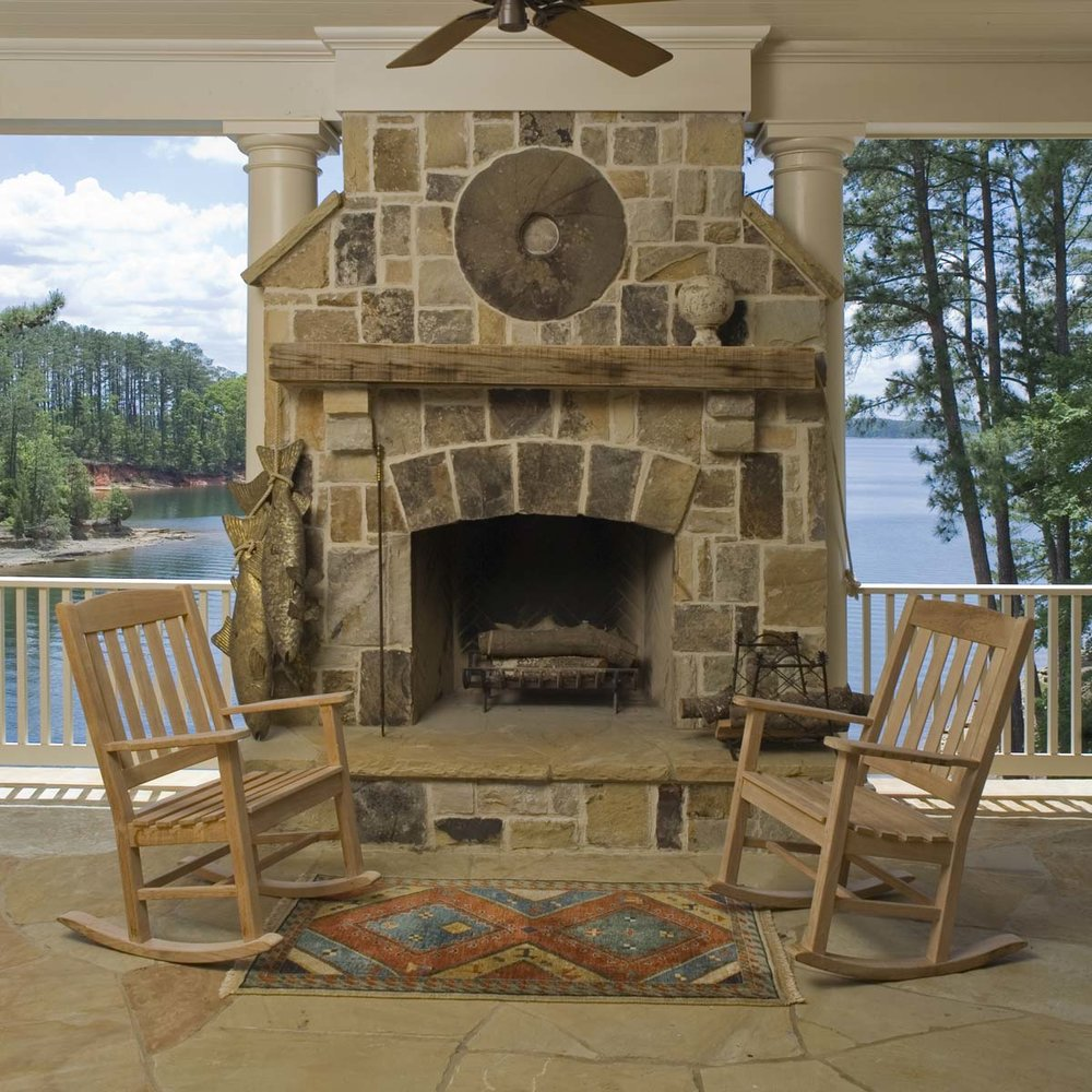 South Carolina Lake House Stone Fireplace