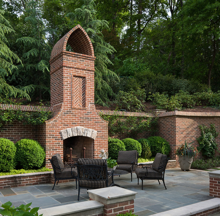 Outdoor Fireplace - Tutor Manor, William T. Baker