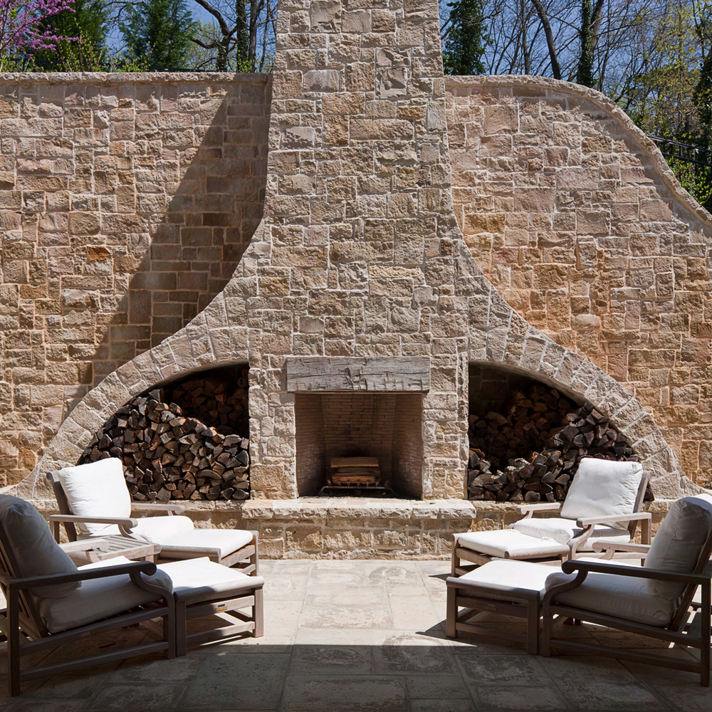 Outdoor Fireplace at Rock Point | William T. Baker