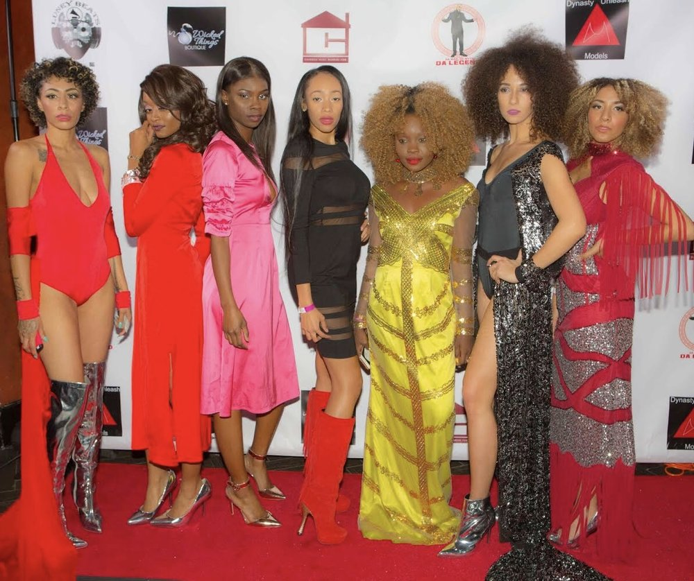Models wearing Wicked Things Boutique dresses, and TadazzleMe by Timi S. shoes. From left to right:  Magicaa, Celisse, Bianca, Zahrriya, Josephine, Arinn, and Sabrina.