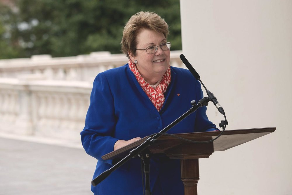 UVA President Teresa A. Sullivan introduced the Bicentennial Commission Thursday on the steps of the newly renovated Rotunda. (Photos by Dan Addison, University Communications)