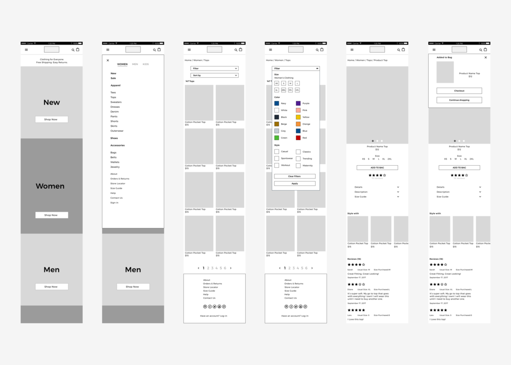 Low-fidelity mobile wireframes