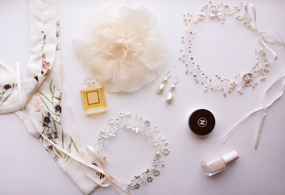 Shirley & Audrey pieces L to R:  Peony silk flower , natural pearl drop earrings,  Claudette hair wreath ,  Edith hair wreath