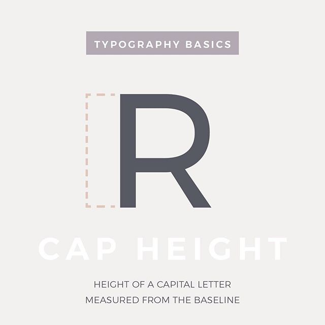 "[Extended Definition] :: Cap Height :: This typography term refers to the distance of the top of flat capital letters to the baseline of that typeface (the invisible line the text rests on). . For letters that are round (""Q"") or pointy (""A""), this height may be slightly different depending on the stylization. This is because they may need to be slightly larger to appear as the same size as a flat letter (""E""). - - - - - #typography #typetuesday #typographytuesday #typographytuesdays #type #fonts #typefacedesign #design101 #graphicdesign #designstudio #logocreation #creativeteam"